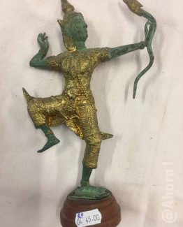 Figur, Skulptur asiatischer Krieger mit Bogen auf Holzsockel