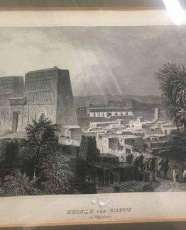 Ahorn1, Entrümpelung, Stahlstich, Ruinen von Edfou, Ägypten, S/w im Holzrahmen mit Aufhängung