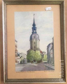 Aquarell, Kirche St. Johannis Bad Schandau
